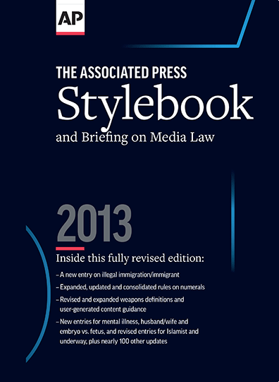 Photo of the cover of The Associated Press Stylebook 2013.