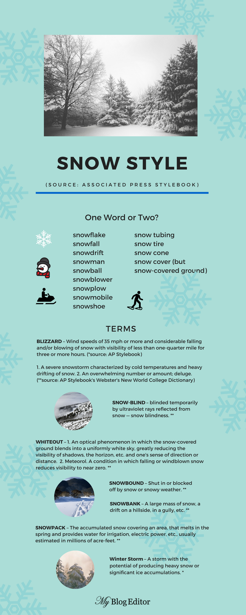 Infographic of Associated Press Stylebook snow terms