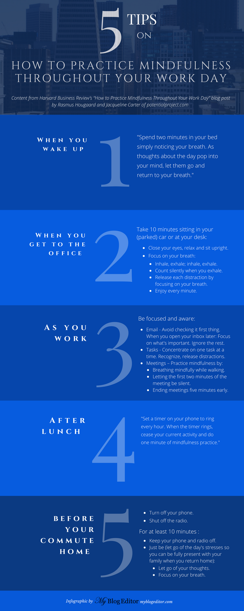Myblogeditor.com infographic based on Harvard Business Review post: How to Practice Mindfulness Throughout Your Work Day